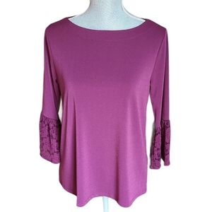 Banana Republic Lace Bell Sleeve Boatneck Blouse